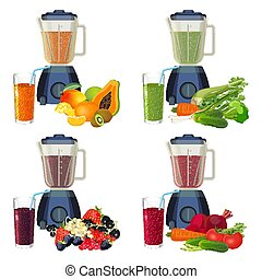 Blender and glass of smoothie organic fruits and vegetables...