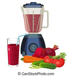 Blender and glass of smoothie made of organic vegetables...