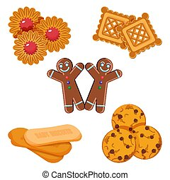 Set of vector biscuits gingerbread boy, confectionery with...