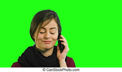 A Young Lady Talking on the Phone