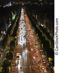 Champs Elysees at night - Famous boulveard Champs Elysees in...