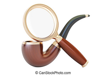 Magnifying glass and smoking pipe, 3D rendering