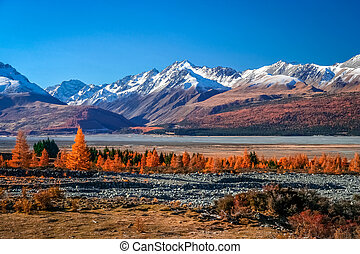 New Zealand Mountain Scenery - Beautiful mountain scenery on...