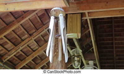 Local Bamboo Wind Bell Decorated House, stock video