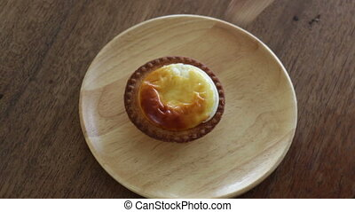 Sweet Time Of Delicious Cheese Tart, stock video