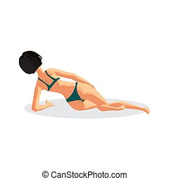 Young woman in bikini sunbathing lying on the beach. Back view. Vector flat cartoon illustration isolated on a white background