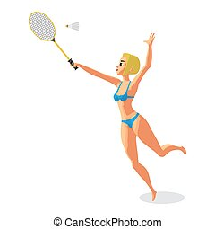 Young woman in a bikini plays badminton on the beach. Girl in swimsuit with tennis racket.  Vector isolated flat cartoon illustration