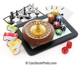 Tablet computer, playing cards, roulette,chips, dice.