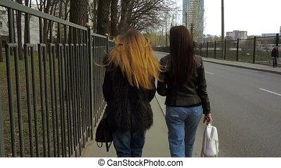 two stylish girls walk along city roads - two stylish girls...
