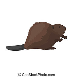 Canadian beaver. Canada single icon in cartoon style...
