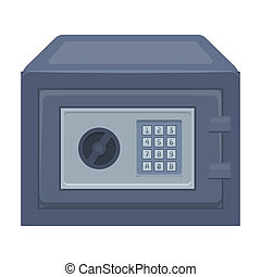 Realistic Steel safe.Safe under combination lock. Metal box is hard to open.Detective single icon in cartoon style rater,bitmap symbol stock illustration.