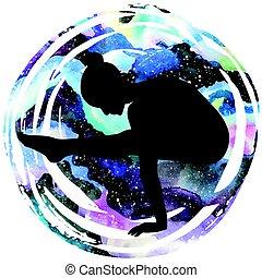 Women silhouette. Firefly yoga pose. Tittibhasana - Women...