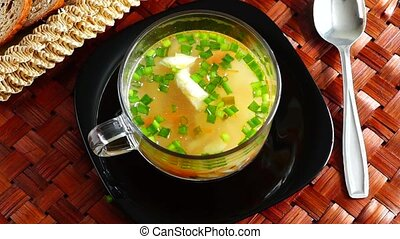 Delicious soup with green onion - Delicious chicken soup...
