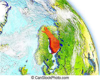Finland on model of Earth - Finlandin red color on model of...