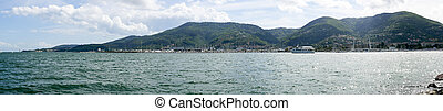 panoramic view of la spezia gulf in italy