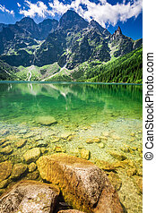 Stunning blue lake in the mountains in summer, Poland,...