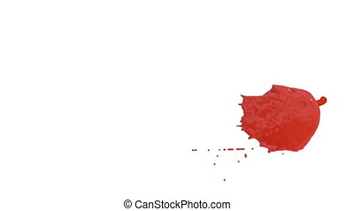 Flow of red paint splattering on white background and dripping down over white. 3d render with alpha mask for background, transition or overlays. Version 14