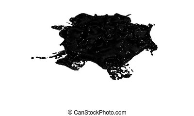 black ink droplet falls on the white surface. 3d render liquid with very high detail and alpha mask for compositing. Ver 8