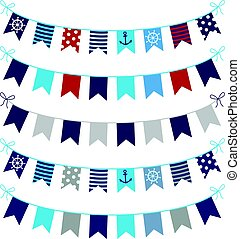 Set of nautical themed vector bunting garlands in blue, red...