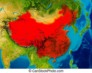 China on physical map