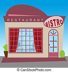 Restaurant Bistro Showing Gourment Food 3d Illustration -...