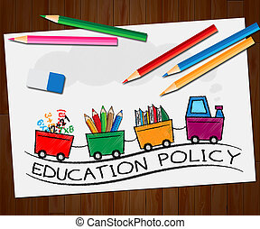 Education Policy Showing Schooling Procedure 3d Illustration...