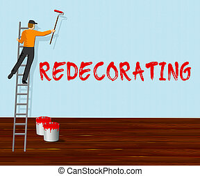 Home Redecorating Shows House Painting 3d Illustration -...
