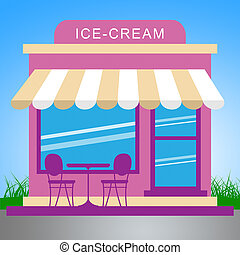 Ice Cream Store Meaning Dessert Shop 3d Illustration -...