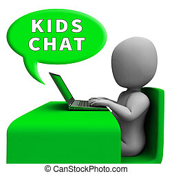 子供, 提示, レンダリング, メッセンジャー, チャット, 子供, 3D