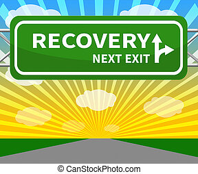 Recovery Sign Means Get Back 3d Illustration - Recovery Sign...