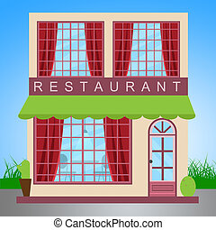 Restaurant Dinner Shows Gourment Food 3d Illustration -...