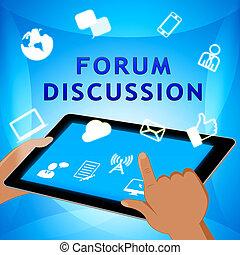 フォーラム, アイコン, 議論, イラスト, 共同体, 3D, ショー