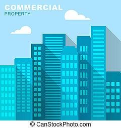 Commercial Property Office Represents Buildings Downtown 3d Illustration