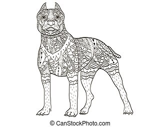American Pit Bull Terrier Coloring book vector for adults -...