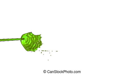 Flow of green liquid like juice splattering on white background and dripping down over white. 3d render with alpha mask for background, transition or overlays. Version 1