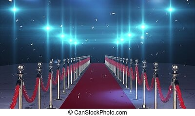 Flight on the red carpet with flying confetti