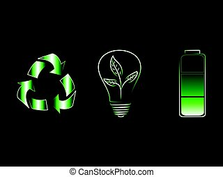 recycle logo next to leaves lightbulb and green battery,renewable energy