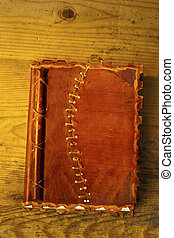old diary with leather binding - an old diary or notebook...