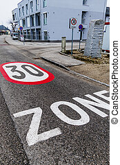 30 kph zone in the city - traffic calming one...