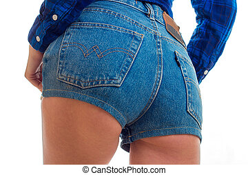 sexy female ass in jeans shorts