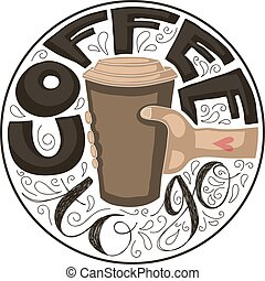 """Coffee to go - Hand lettering of the text """"Coffee to go""""..."""