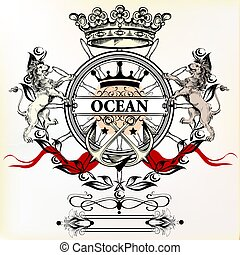 Heraldic nautical logotype or label with anchor, lions and crown. Ideal for T-shirt designs or badges.eps