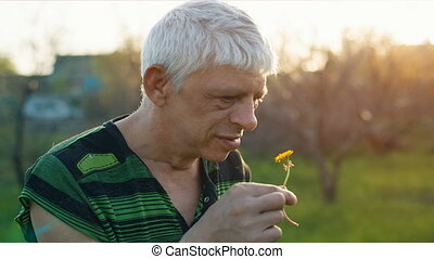 Funny man sniff a flower - Funny middle aged man smelling a...