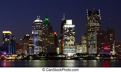 Timelapse of the Detroit skyline, Michigan from day to night...