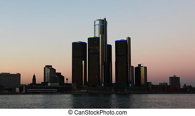 Night timelapse of the Detroit skyline - A Night timelapse...