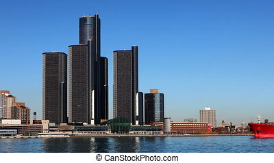 Timelapse of the Detroit city center across the river - A...