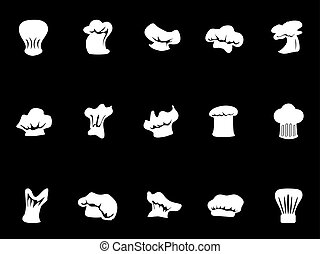 chef hats icon on black background - isolated chef hats icon...