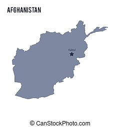 Vector map of Afghanistan isolated on white background.
