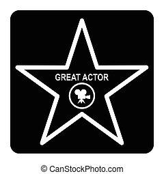 walk of fame star - Walk of fame star black icon. Flat...