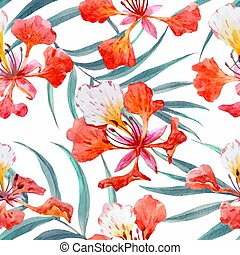 Watercolor floral pattern - Beautiful pattern with hand...